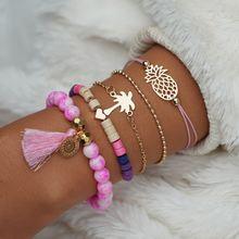 В богемном стиле розового цвета с кисточками бусы браслеты из