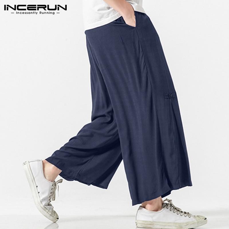 Summer Hot Sale Men's Cotton Linen Breathe Fabric Loose Casual Pants Large Size Wide Leg Pant Male Harem Straight Trousers S-5XL