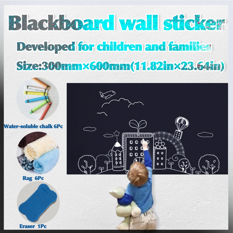 Size: 300 * 600mm Children's Teaching Graffiti Learning Self-adhesive Small Blackboard Wall Stickers Refrigerator Black Board