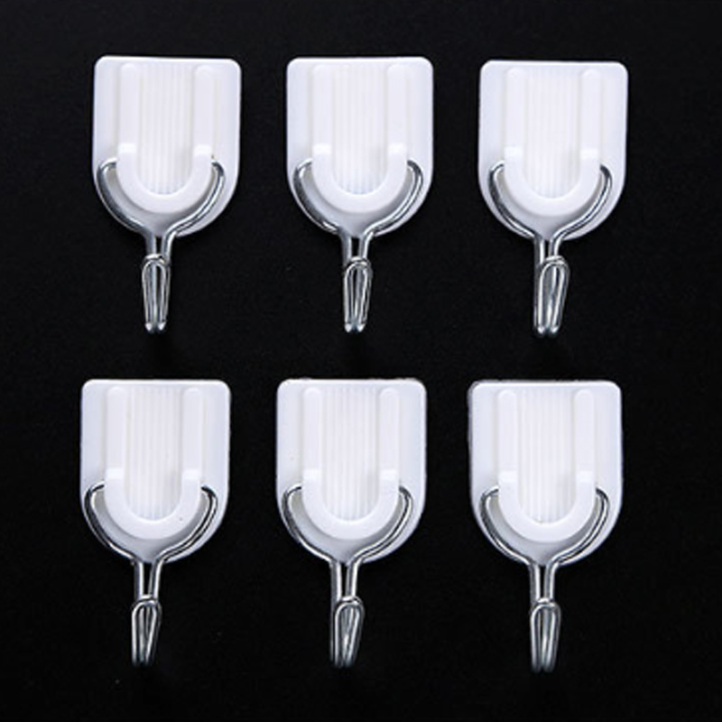 6 Pcs Wall Door Sticky Hanger Holder White Hooks Kitchen Bathroom Home Storage Organization Multi-Purpose Hooks