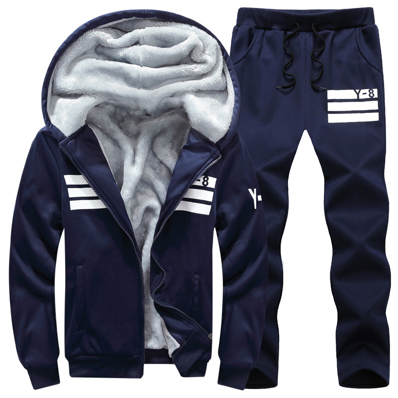Plus Size 6XL 7XL M-9XL Men's Sportswear Sets 2019 Brand Warm Fur Liner TrackSuit Men 2 Piece Sweatshirt + Sweatpants Set