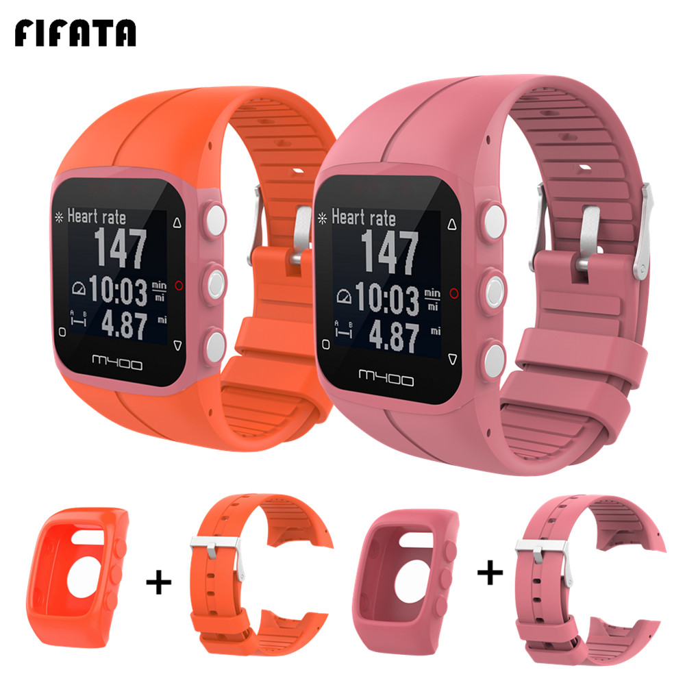 FIFATA Silicone Strap+Protective Case 2in1 For <font><b>Polar</b></font> <font><b>M430</b></font> M400 Watch Band Bracelet TPU Full Cover Frame Protector For M400 <font><b>M430</b></font> image