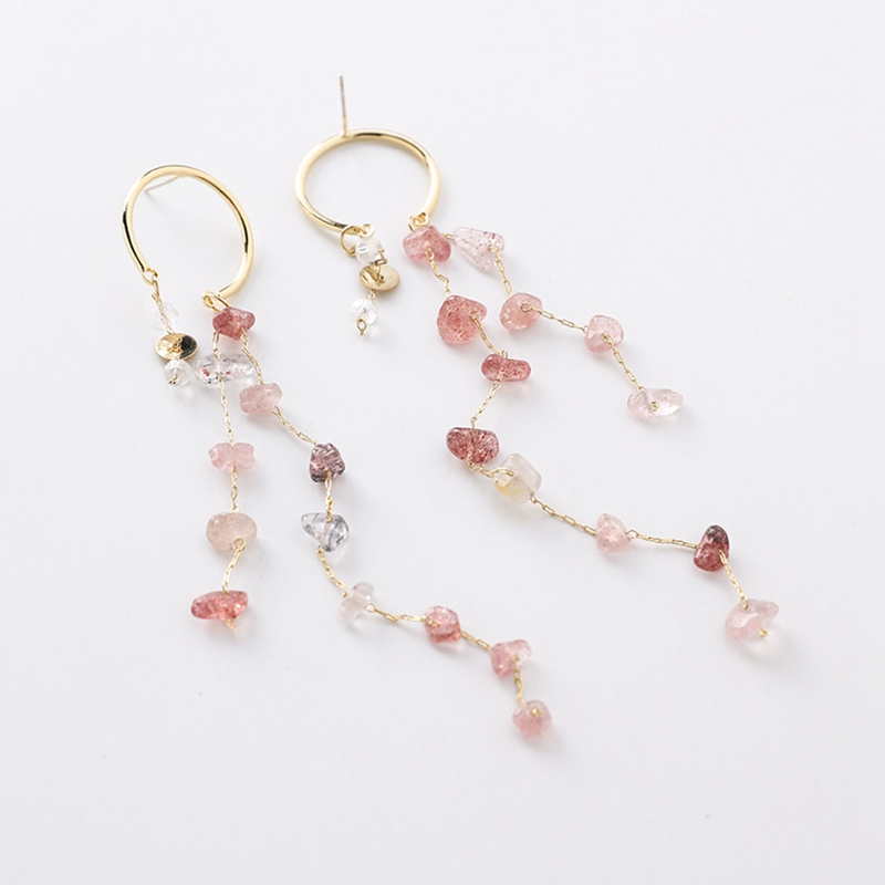 MENGJIQIAO Korean New Fashion Colorful Irregular Stone Long Tassel Drop Earrings For Women Elegant Pendientes Party Jewelry 4