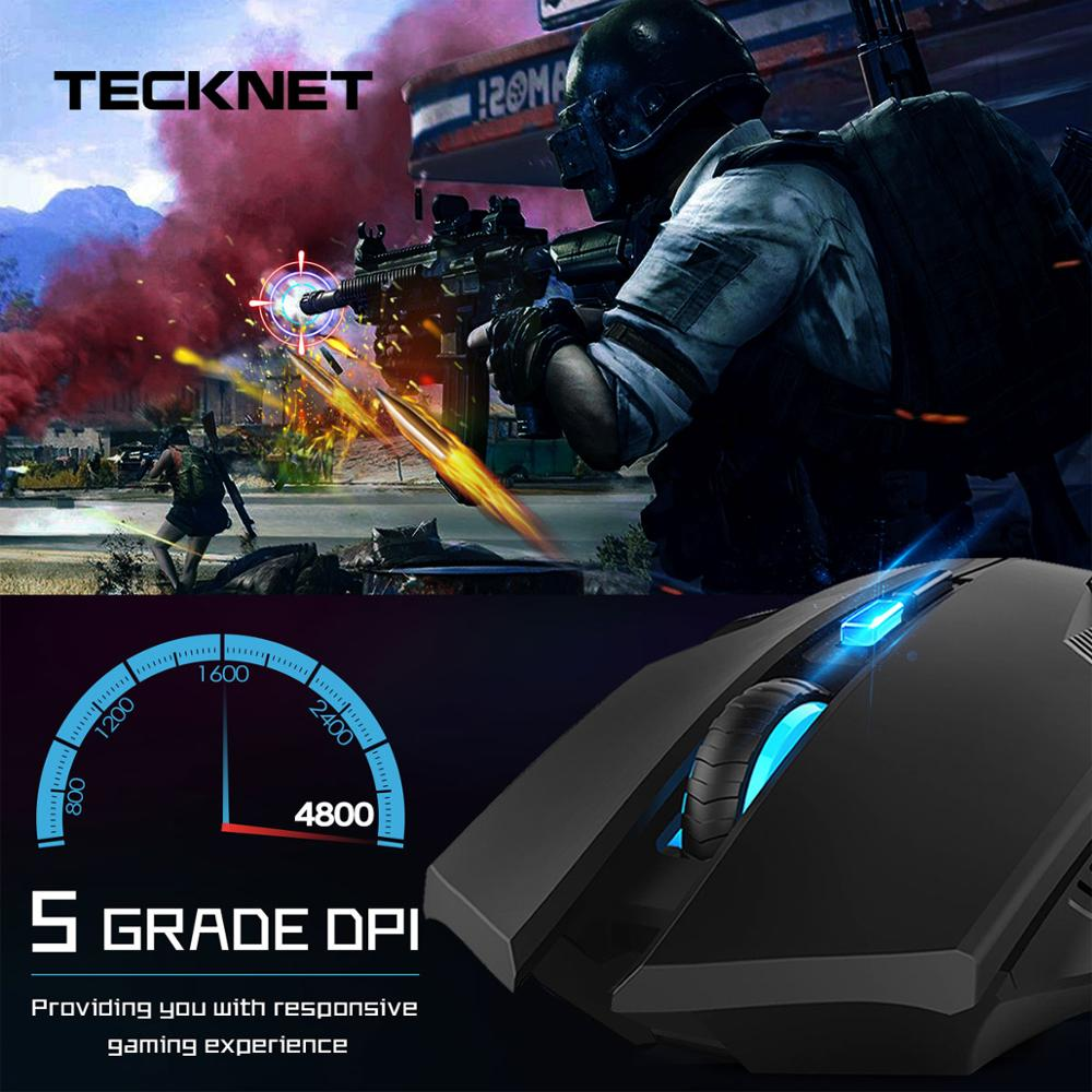 TeckNet Ergonomic Mice Professional Optical Computer 2.4GHz Wireless Gaming Mouse With Nano Receiver 8 Buttons 4800DPI Advanced
