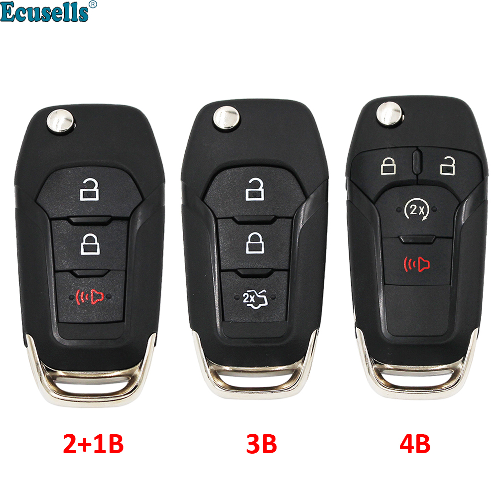 3/4 Buttons Folding Flip Remote Car Key Shell Case Cover Fob for Ford Fusion Edge Explorer 2013 2014 2015 HU101 Uncut