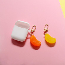Cute Simulation Fruit Orange Keychain Girl Keyring For Women Girl Jewelry Cartoon Car Handbag Key Chain Decoration(China)
