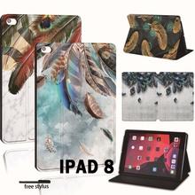 Stojak na Tablet ze skóry PU Folio Cover-ultra-cienki różne kolory piór Slim Case na Apple iPad 8 10 2 #8222 2020 (8 8 generacji) tanie tanio FINDING CASE Osłona skóra CN (pochodzenie) For iPad Drukuj 17 4cm Dla apple ipad Moda For Apple iPad Odporny na wstrząsy