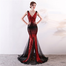 Sequin Long Evening Dress 2020 Sequined V Neck Sexy Noble Gradient Sparkle Lace