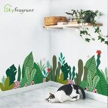 Wall-Sticker Tv-Background-Wall-Decor Room-Decoration Waist-Line Plant Self-Adhesive