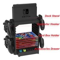 Caja de almacenamiento multifuncional para tarjeta de juego, soporte de torre de acoplamiento para consola Nintendo Switch, controlador, cajón de Hooker