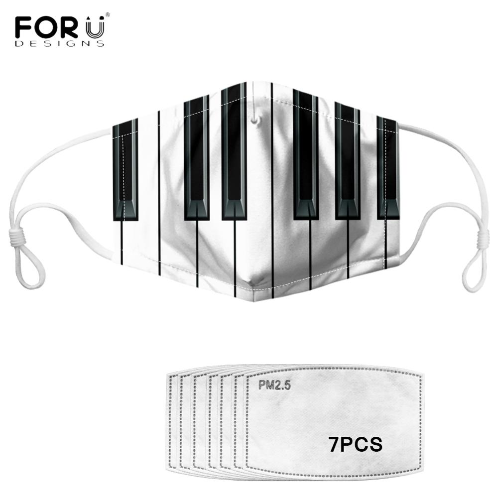 FORUDESIGNS Music Notes Piano Keyboard Unisex Anti-dust Mask Breathable Soft Women Men Face Mask Non-disposable Washable Mask