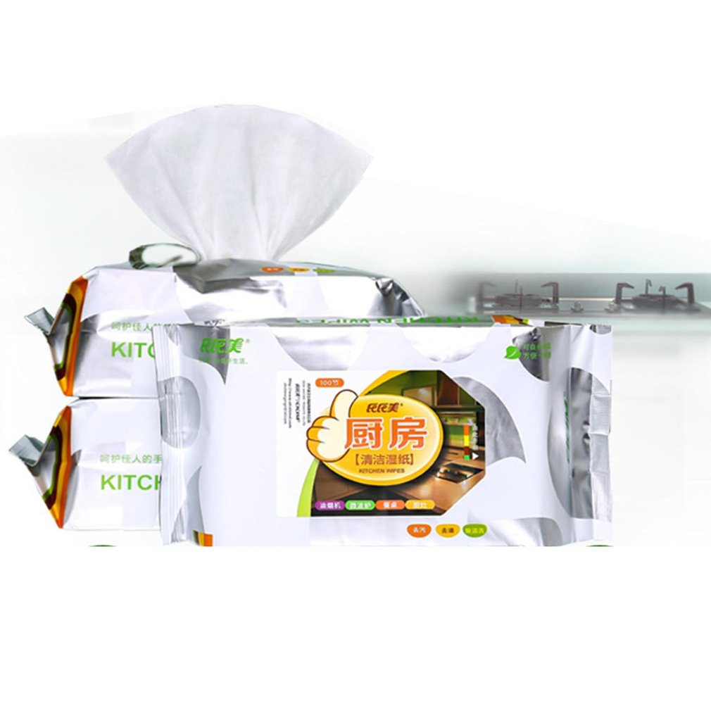 100pcs Kitchen Hygiene Cleaning Wet Wipes Paper Kitchen Utensils Decontamination Kitchen Wipes Hood To Oil Wet Wipes