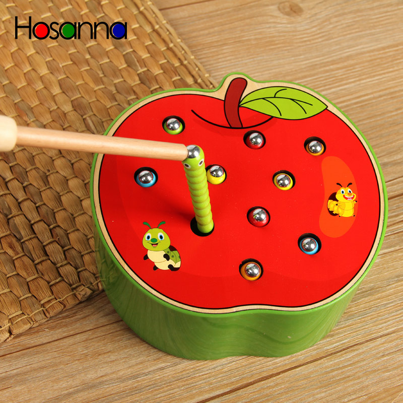 Baby Wooden Toys Catching Worms Puzzle Game Educational Kids Toys Memory Match Magnetic Early Pretend Play Toys For Children(China)