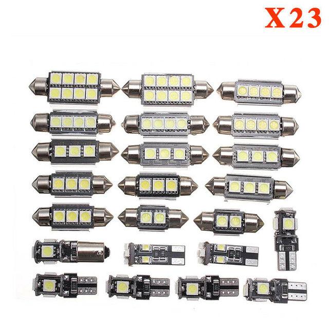 23pcs 5W LED Car Interior Light Dome Trunk Map License Plate Reading Lighting Lamp Bulbs T10 5050 Arrow Decode Universal Decor