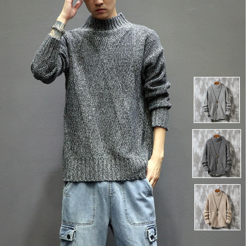 Autumn/winter 2019 New Slim Solid Color Stripe Printed Long-sleeve Sweater Loose Large Casual Personality Youth Men's Wear