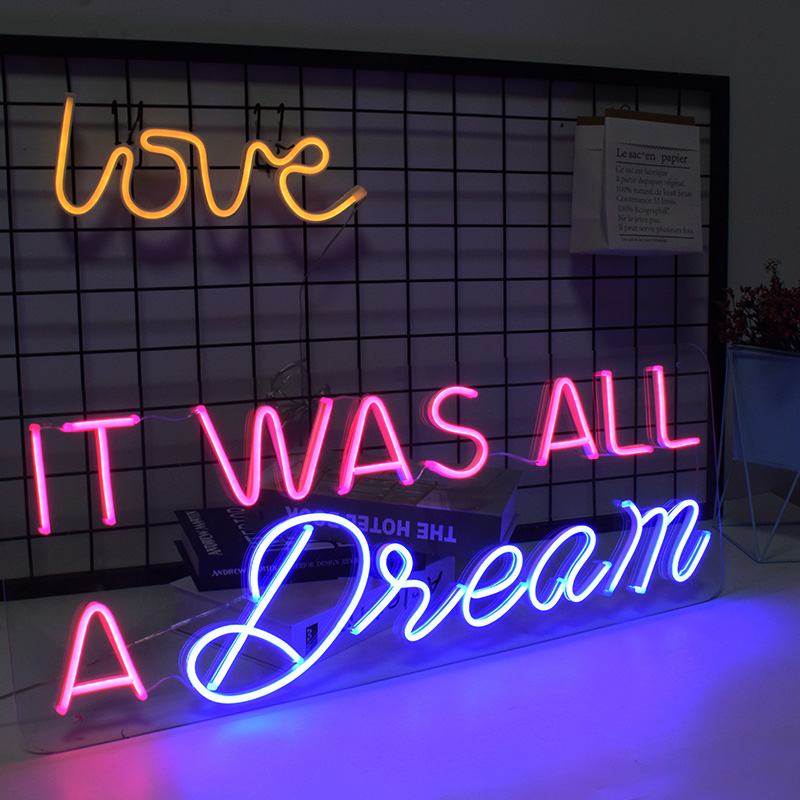 HDJSign It was all a dream led neon sign phrase Dimmable Transparen led pink blue Custom light neones display home wall decor image
