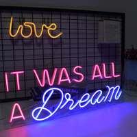 HDJSign It was all a dream led neon sign phrase Dimmable Transparen led pink blue Custom light neones display home wall decor