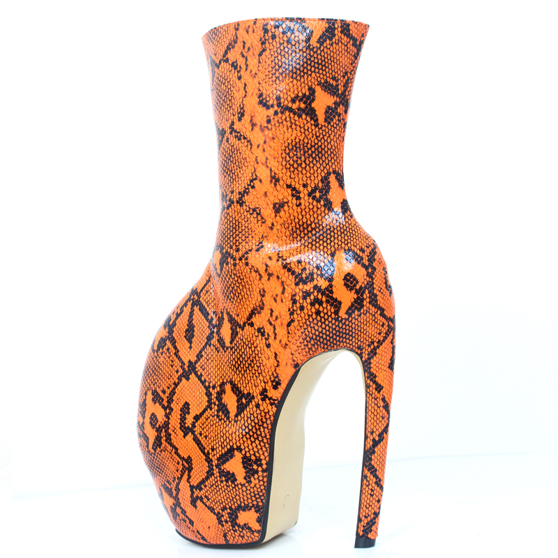 "Image 5 - jialuowei Brand New Strange Style Designer 18CM/7"" Super High Heels Sexy Fetish Serpentine Print Women Unisex Mid Calf BootsMid-Calf Boots   -"