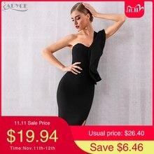 Adyce 2020 novo verão um ombro mulheres bandagem vestido celebridade festa à noite vestido sexy ruffle midi preto bodycon clube vestido