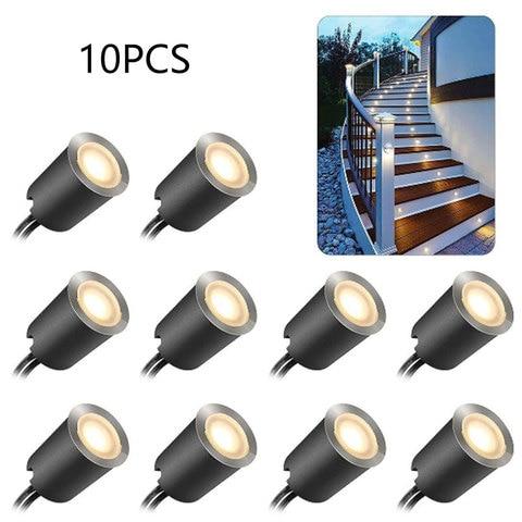 10 pcs led luz decoracao da casa cozinha rodape decking luz destacavel branco quente abs
