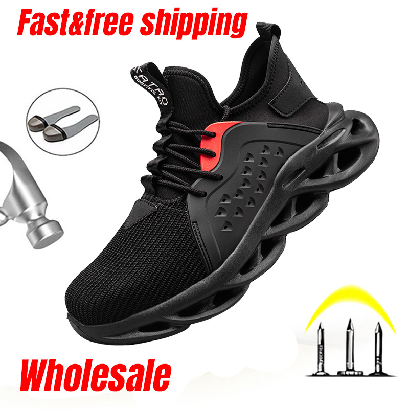 LARNMERN Men/'s Steel Toe Safety Shoes Breathable Lightweight Sneakers Work Boots