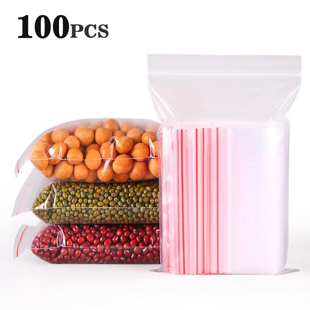 100 шт., 17 размеров, прозрачные пластиковые пакеты с замком на молнии, полиэтиленовый пакет с замком на молнии, мешки для конфет, мешки для хран...