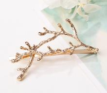 Personality creativity antlers Twig Hairpin Love princess alloy Word folder Gold silver Factory direct sales