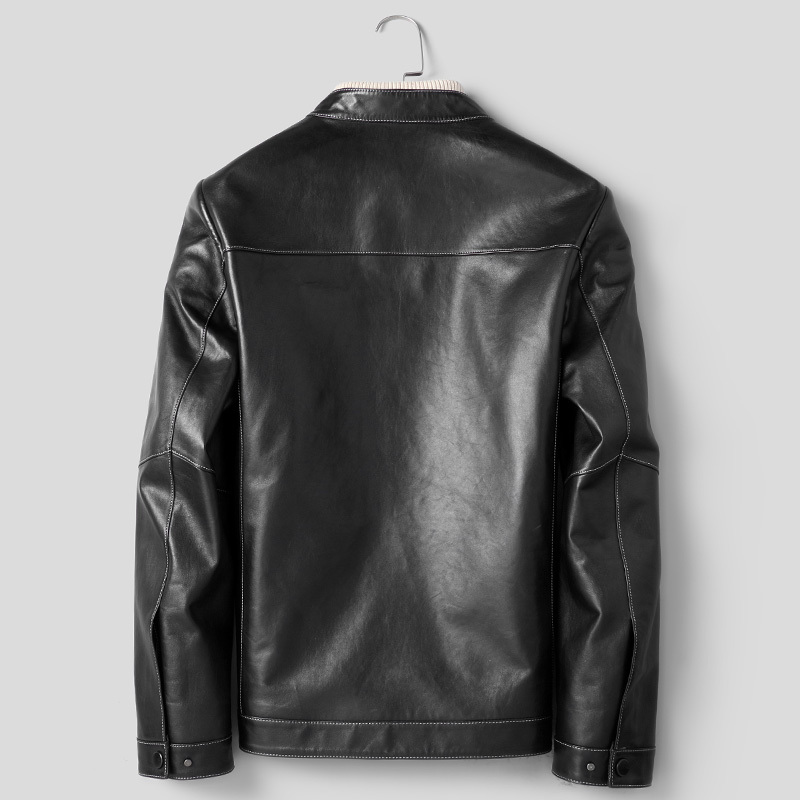 Real Genuine Leather Jacket Men Sheepskin Coat Casual Biker Motorcycle Jacket Spring Autumn Leather Jackets D8268F J3514