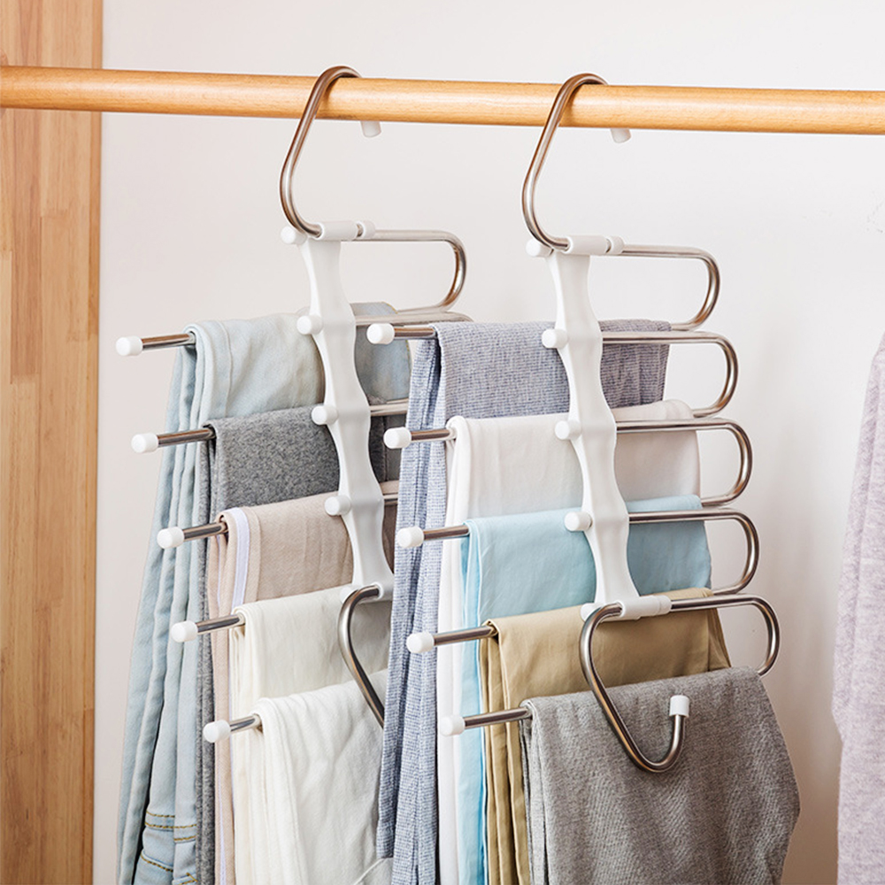 Alert Creative Multi-layer Pants Scarf Storage Rack Multi-functional Dormitory Household Wardrobe Skirt Tie Clothing Hanger Organizer Matching In Colour