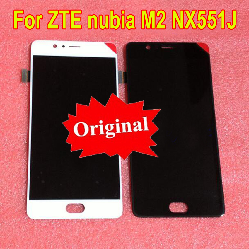 Original Best Working AMOLED LCD Display Touch Screen Digitizer Assembly Sensor For ZTE Nubia M2 <font><b>NX551J</b></font> Glass Panel Replacement image