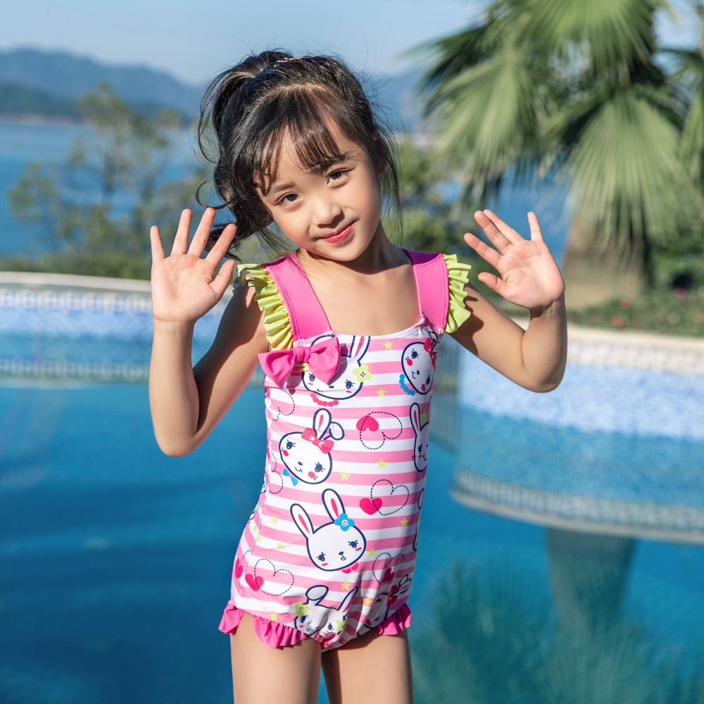 New Style Baby Girls Hot Springs Loli Swimwear Bow Children One-piece Swimming Suit