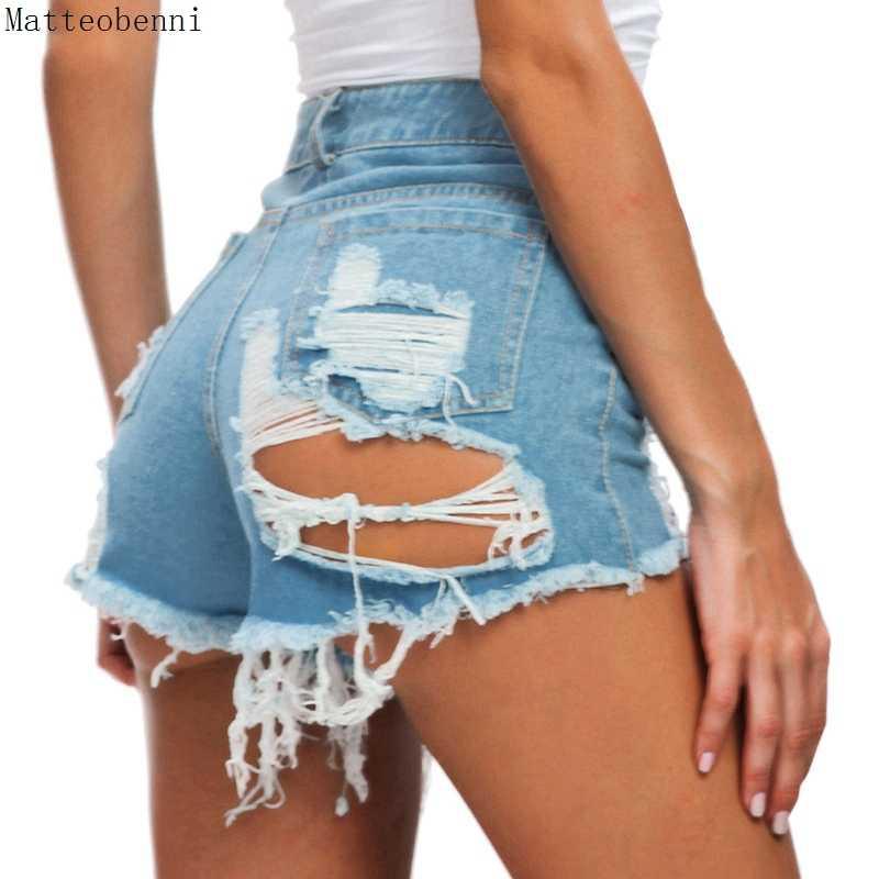 A Vita alta nappa Brevi Jeans Delle Donne di Modo di Estate sexy Strappato Denim Shorts Casual Club Push Up Vintage Denim Shorts Streetwear