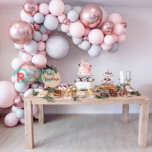 """130 adet Macaron balon kemer Garland 5 """" 18"""" pembe gri gül altın konfeti balon düğün için toplu doğum günü parti dekorasyon olay"""
