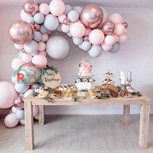 """130 stücke Macaron Ballon Bogen Girlande 5 """" 18"""" Rosa Grau Rose Gold Konfetti Ballon Groß für Hochzeit geburtstag Party Dekoration Ereignis"""
