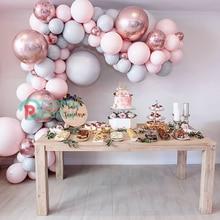 "130pcs Macaron Balloon Arch Garland 5"" 18"" Pink Gray Rose Gold Confetti Balloon Bulk for Wedding Birthday Party Decoration Event"