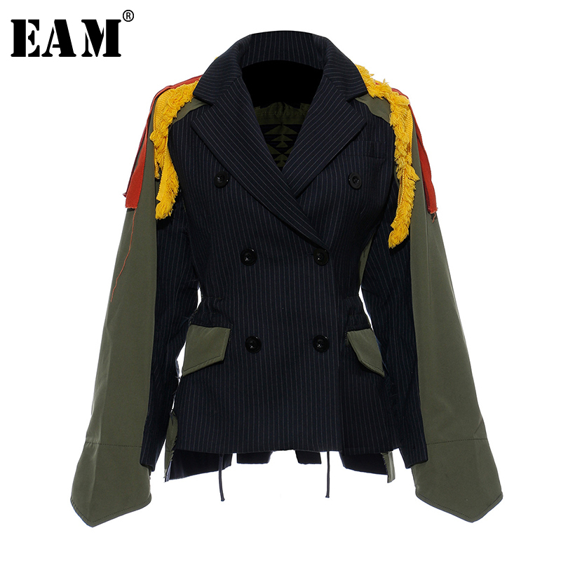 [EAM]Big Size Striped Contrast Color Pattern Print Jacket New Lapel Ribbon Loose Fit Women Coat Fashion Spring Autumn 2020 JZ521
