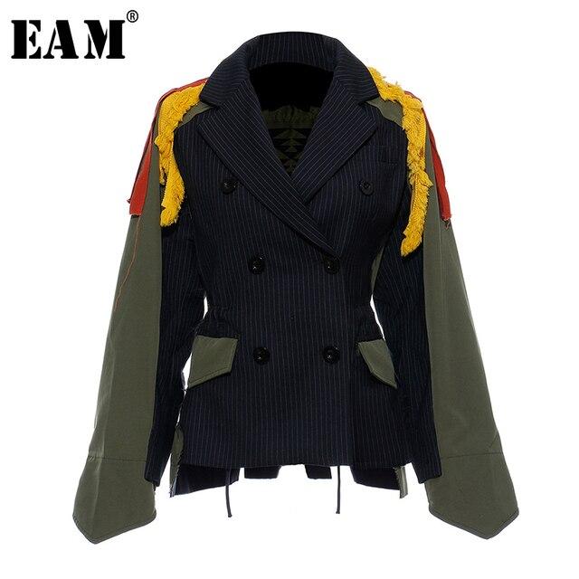 $ US $59.94 [EAM]Big Size Striped Contrast Color Pattern Print Jacket New Lapel Ribbon Loose Fit Women Coat Fashion Spring Autumn 2020 JZ521