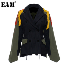 [EAM]Big Size Striped Contrast Color Pattern Print Jacket New Lapel Ribbon Loose