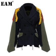 [EAM]Big Size Striped kontrast kolorowy wzór wydruku kurtka nowa z klapami wstążka luźny krój kobiety płaszcz moda wiosna jesień 2020 JZ521