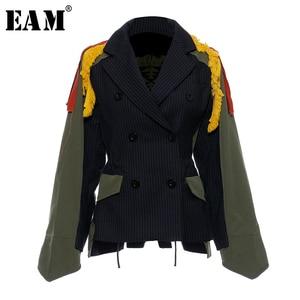 Image 1 - [EAM] גדול גודל פסים ניגודיות צבע דפוס הדפסת מעיל חדש דש סרט Loose Fit נשים מעיל אופנה האביב סתיו 2020 JZ521