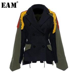 Image 1 - [Eam] ビッグサイズストライプコントラスト色柄プリントジャケット新ラペルリボンルーズフィット女性のコートのファッション春秋2020 JZ521