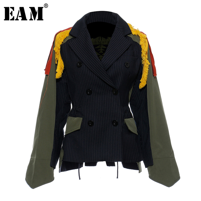 [Eam] ビッグサイズストライプコントラスト色柄プリントジャケット新ラペルリボンルーズフィット女性のコートのファッション春秋2020 JZ521