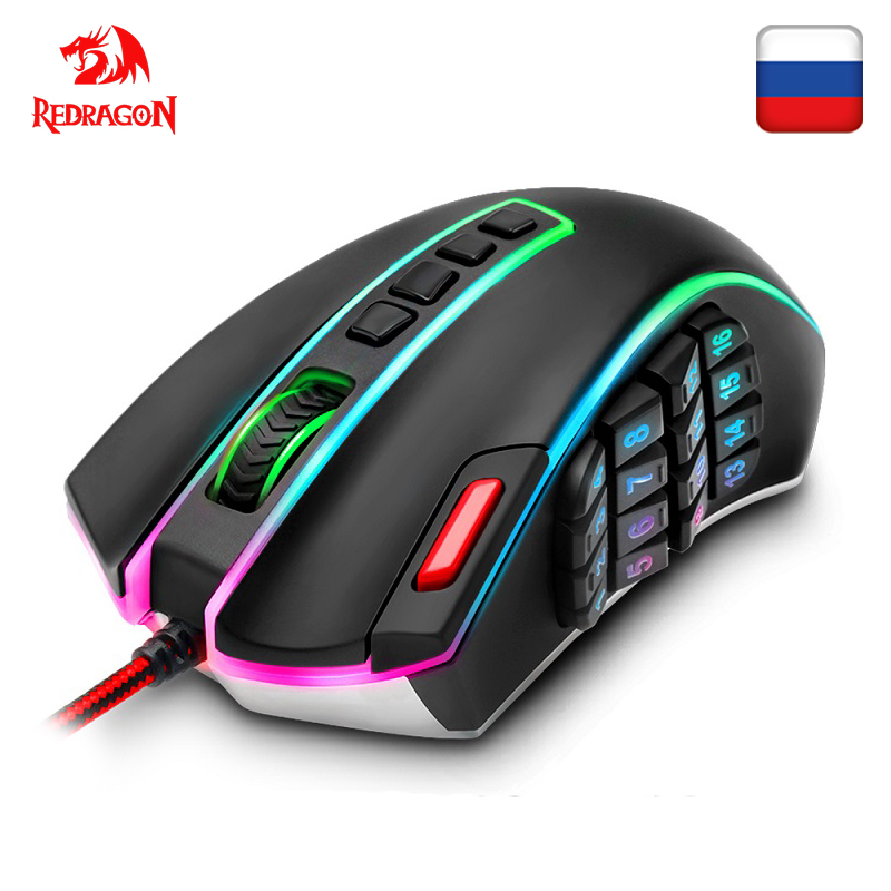Redragon LEGEND M990 USB Wired RGB Gaming Mouse 24000 DPI 24 Buttons Programmable Game Mice Backlight Ergonomic Laptop Computer