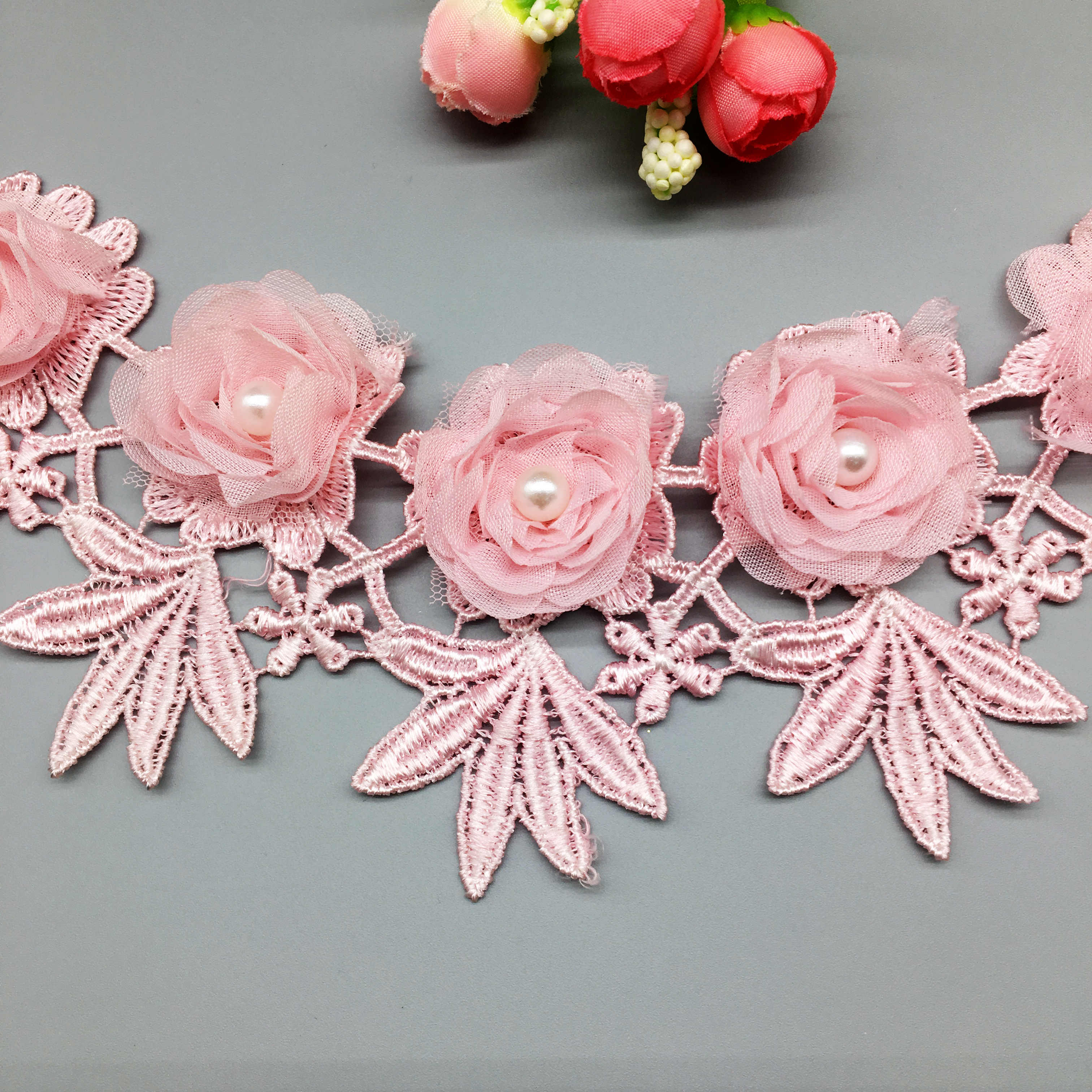 1yd Flower Pearl Lace Edge Trim Wedding Ribbon Embroidered Applique Sewing Patch