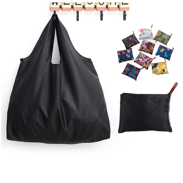 Big Size Thick Nylon Large Tote ECO Reusable Polyester Portable Shoulder Women's Handbags Folding Pouch Shopping Bag Foldable 4