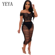 YEYA Side Lace Up Sheer Mesh Ruched Dress Women Sexy See Through Black Short Sleeve Off Shoulder Bodycon Night Club Party