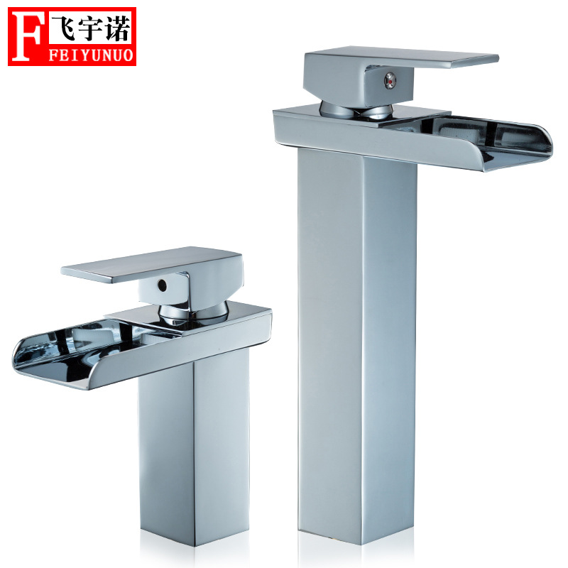 Cross Border New Style Square Sink Waterfall Faucet Bathroom Inter-platform Basin Hot And Cold Faucet Copper Basin Faucet