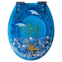 Art Close Resin Toilet Seat with Cover, 3D Effects Heavy Duty Toilet Lid with Dolphin, Starfish, Real Seashells and Sand S Type