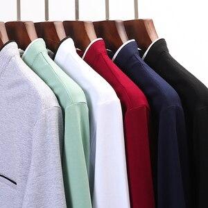 Image 5 - Miacawor Mùa Xuân Mới Nam Áo 95% Cotton Màu Quan Cổ Trụ Dài Tay Nam Slim Fit Polo Homme t805