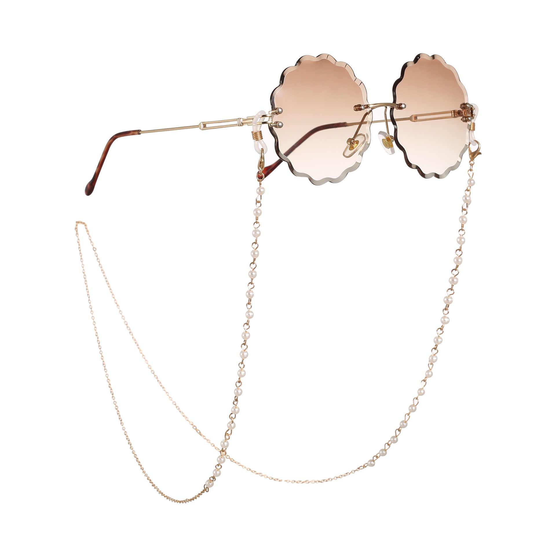 Corrente de óculos de leitura feminina, corrente para óculos de sol de metal, casual, com pérolas, corrente para óculos de mulheres 2020